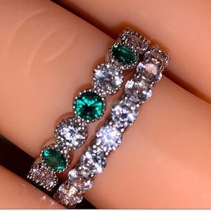 Stackable Green & CZ Rings 925